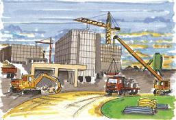 Un cantiere edile che realizza ristrutturazioni