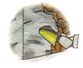 Disegno che raffigura la stesura dell'intonaco sul muro