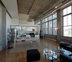 Ambiente open space caratteristico dei loft americani